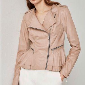 "BCBG Lamb Leather ""Valentina"" peplum jacket"